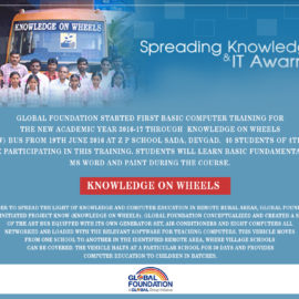 Global Foundation comes up with yet another noble initiative; Project KNOW (Knowledge on Wheels)